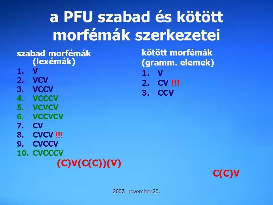 a PFU szabad és kötött morfémák szerkezetei
