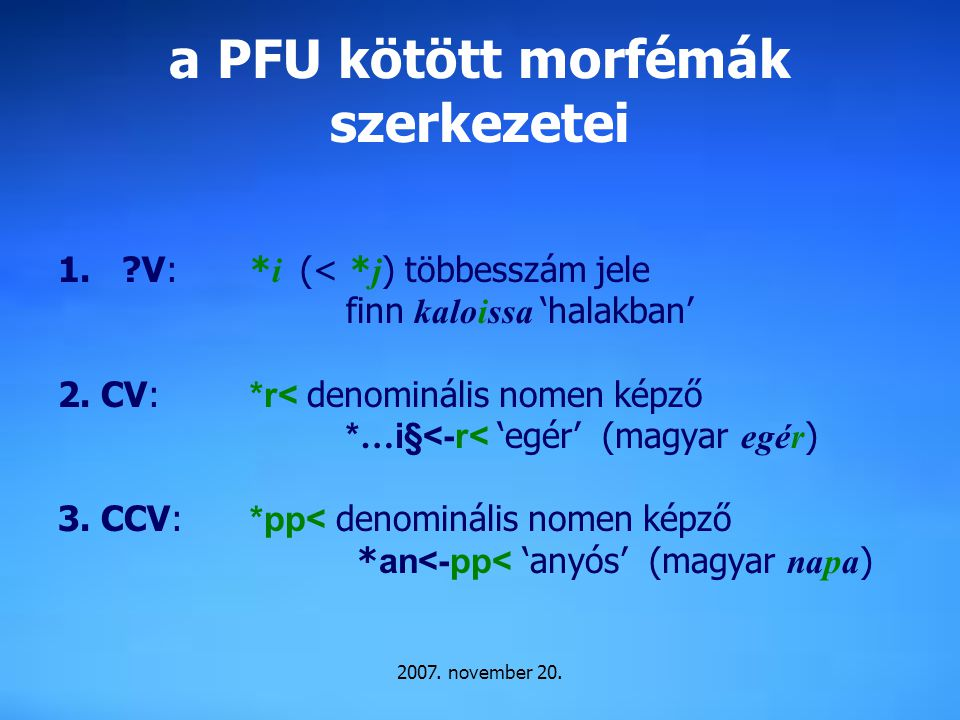 a PFU kötött morfémák szerkezetei
