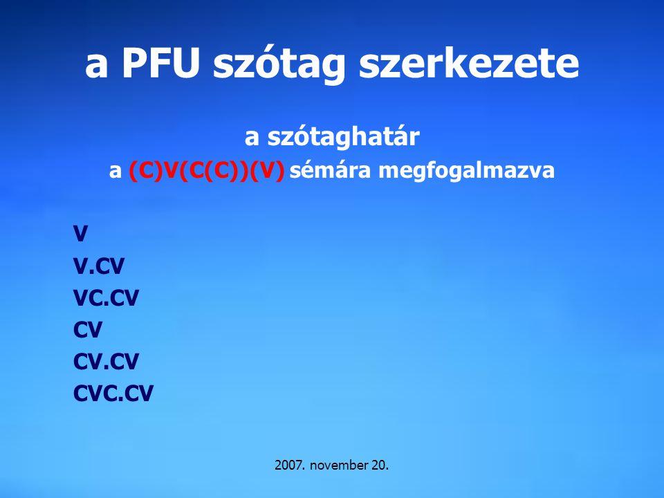 a PFU szótag szerkezete