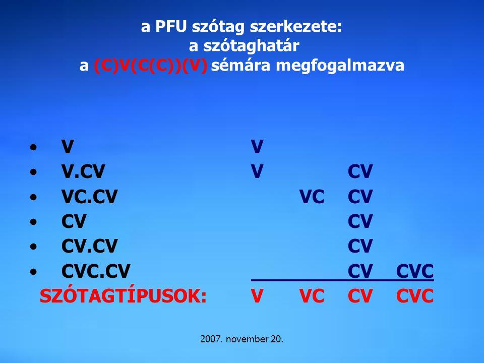 V V.CV VC.CV CV CV.CV CVC.CV SZÓTAGTÍPUSOK: V V CV VC CV CV CV CVC