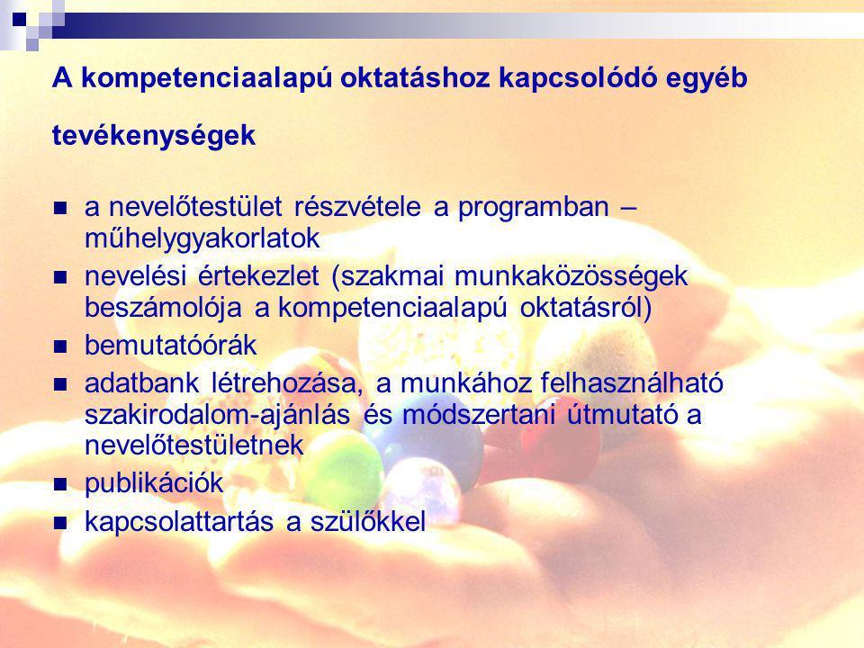 A kompetenciaalapú oktatáshoz kapcsolódó egyéb tevékenységek