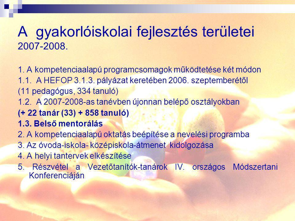A gyakorlóiskolai fejlesztés területei 2007-2008.