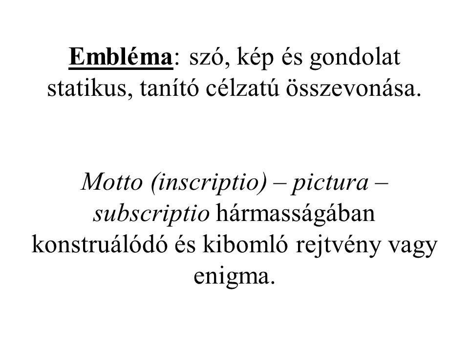 Embléma: szó, kép és gondolat statikus, tanító célzatú összevonása