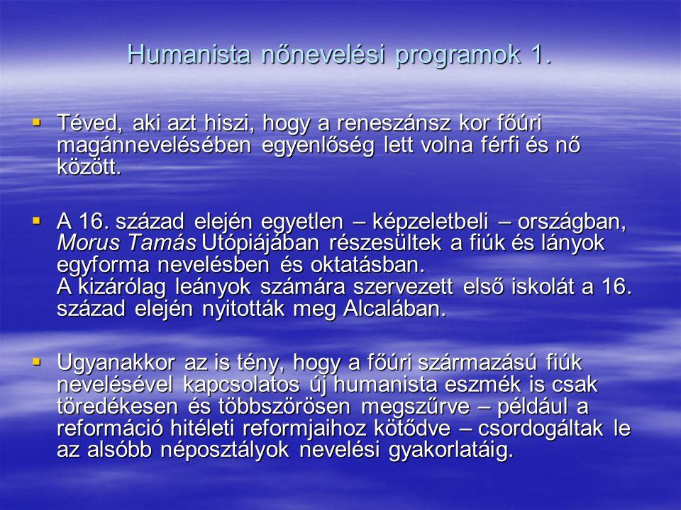 Humanista nőnevelési programok 1.
