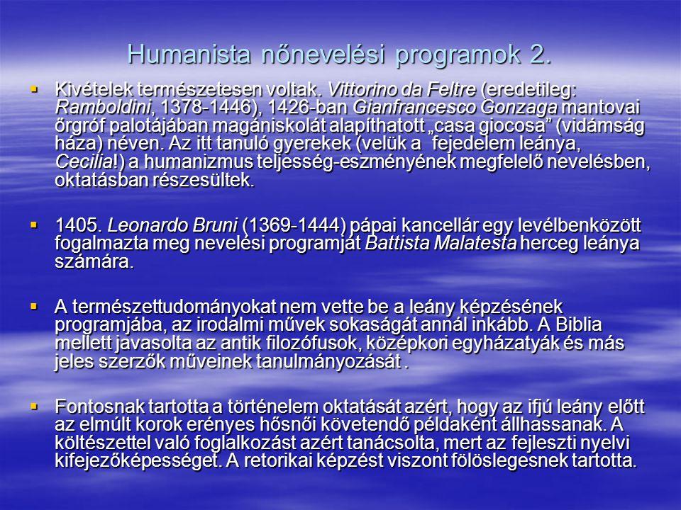 Humanista nőnevelési programok 2.