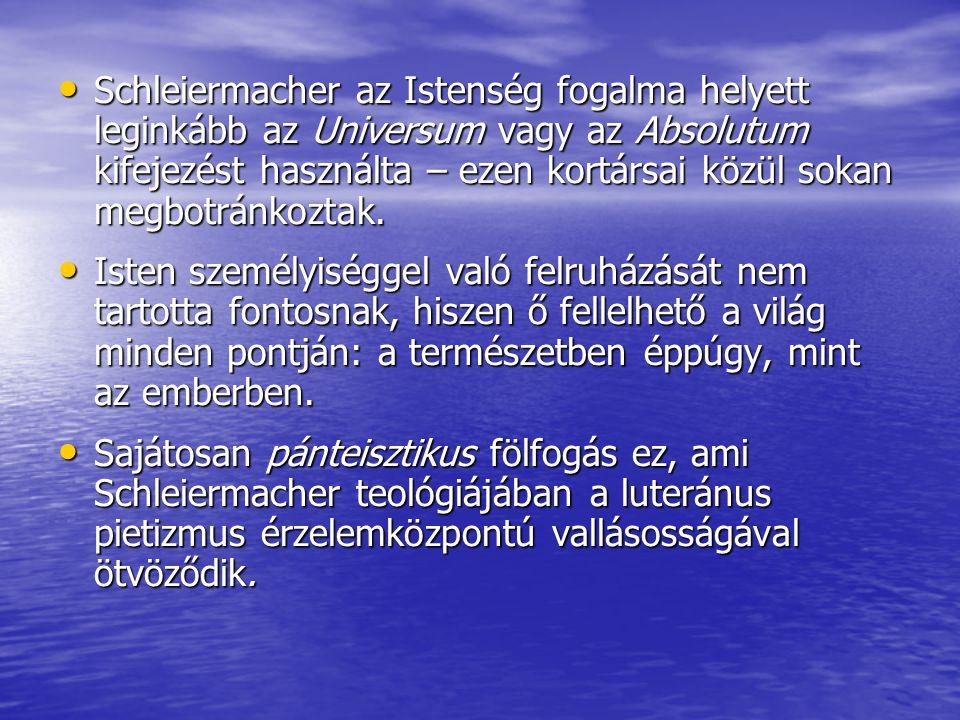 Schleiermacher az Istenség fogalma helyett leginkább az Universum vagy az Absolutum kifejezést használta – ezen kortársai közül sokan megbotránkoztak.
