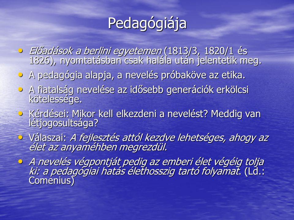 Pedagógiája Előadások a berlini egyetemen (1813/3, 1820/1 és 1826), nyomtatásban csak halála után jelentetik meg.