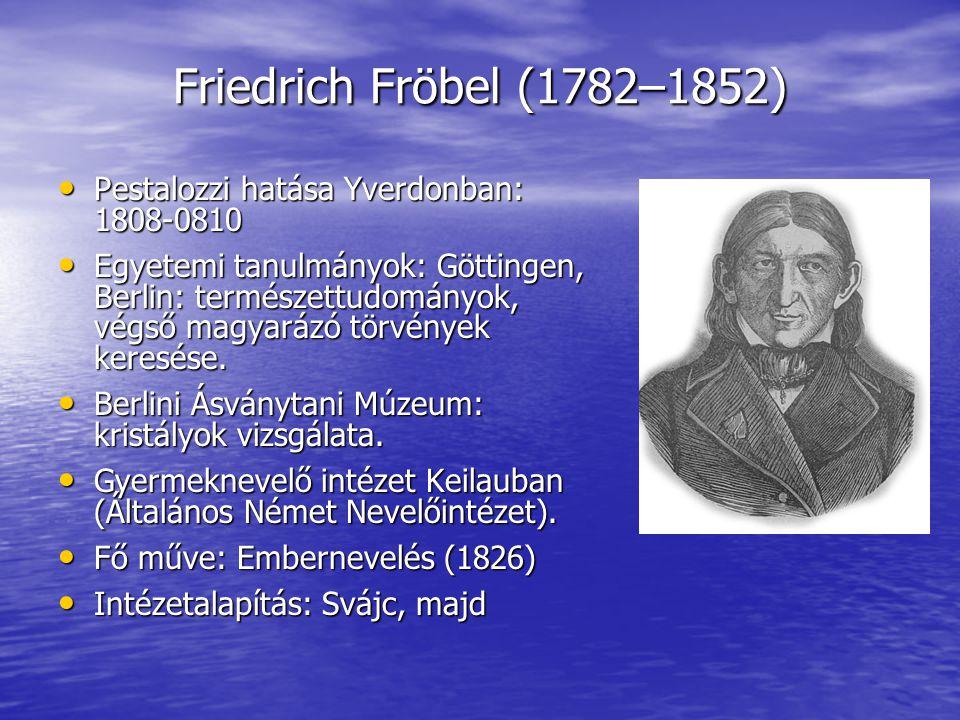 Friedrich Fröbel (1782–1852) Pestalozzi hatása Yverdonban: 1808-0810