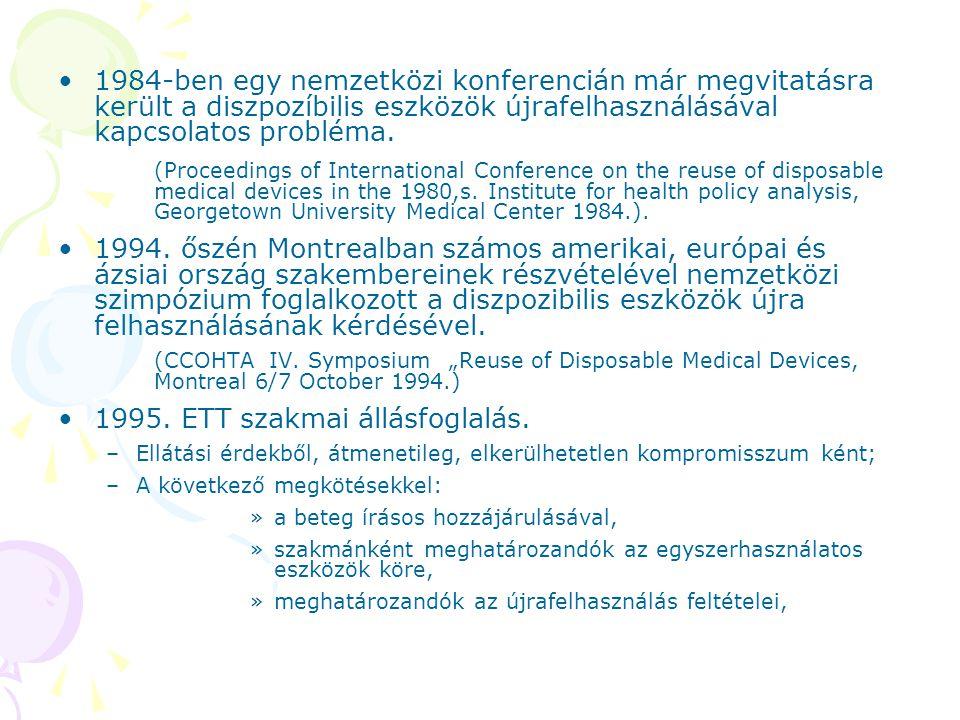1995. ETT szakmai állásfoglalás.
