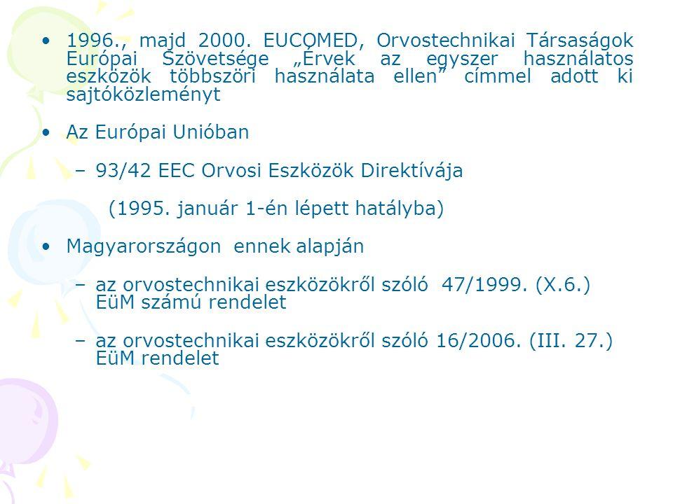 """1996., majd 2000. EUCOMED, Orvostechnikai Társaságok Európai Szövetsége """"Érvek az egyszer használatos eszközök többszöri használata ellen címmel adott ki sajtóközleményt"""