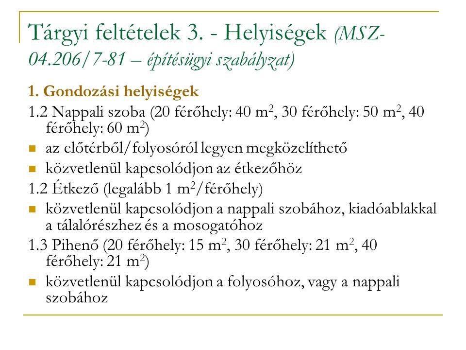 Tárgyi feltételek 3. - Helyiségek (MSZ-04