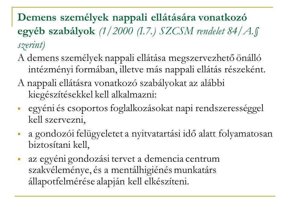 Demens személyek nappali ellátására vonatkozó egyéb szabályok (1/2000 (I.7.) SZCSM rendelet 84/A.§ szerint)
