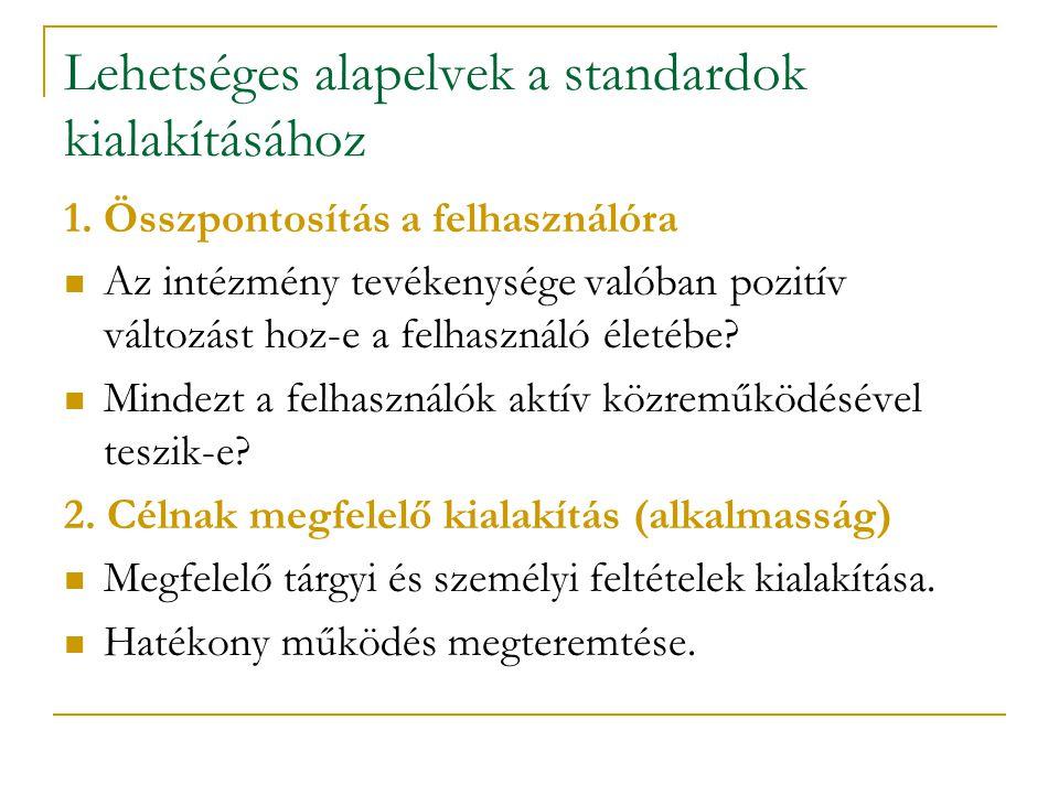 Lehetséges alapelvek a standardok kialakításához