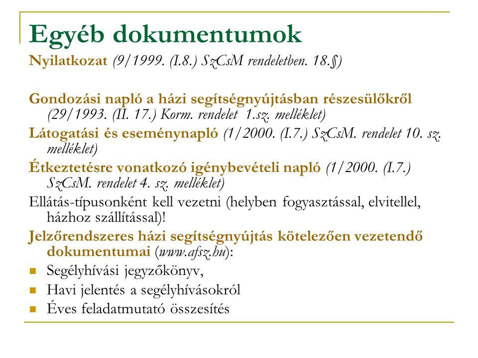 Egyéb dokumentumok Nyilatkozat (9/1999. (I.8.) SzCsM rendeletben. 18.§)