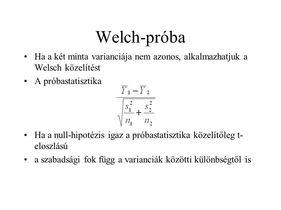 Welch-próba Ha a két minta varianciája nem azonos, alkalmazhatjuk a Welsch közelítést. A próbastatisztika.