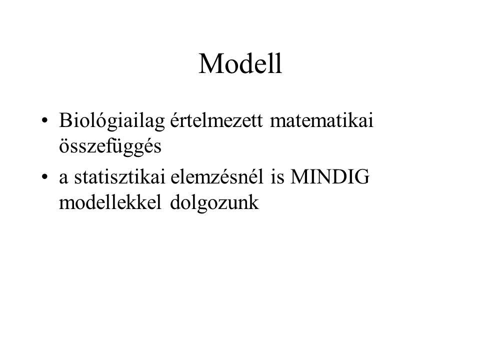 Modell Biológiailag értelmezett matematikai összefüggés