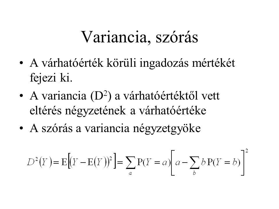Variancia, szórás A várhatóérték körüli ingadozás mértékét fejezi ki.
