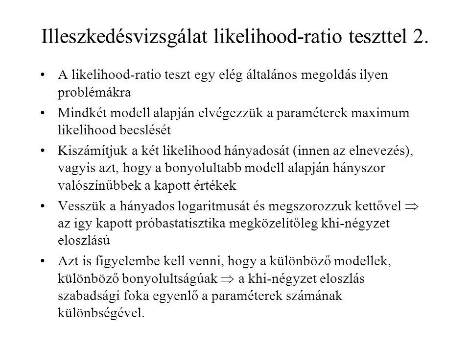 Illeszkedésvizsgálat likelihood-ratio teszttel 2.