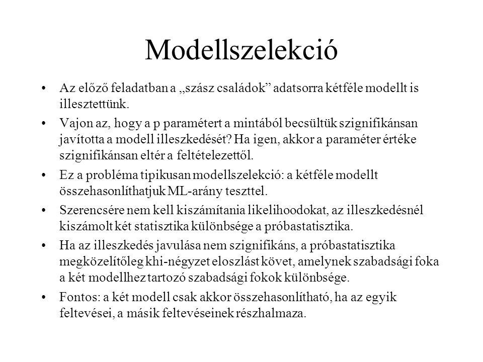 """Modellszelekció Az előző feladatban a """"szász családok adatsorra kétféle modellt is illesztettünk."""