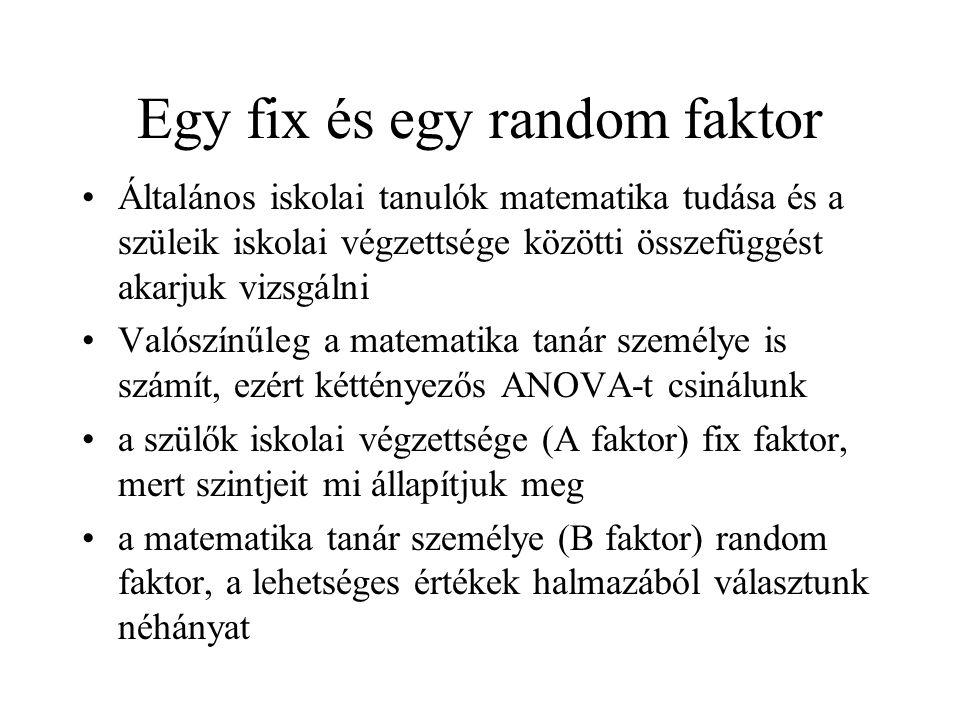 Egy fix és egy random faktor
