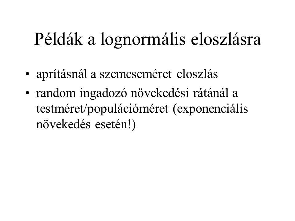 Példák a lognormális eloszlásra