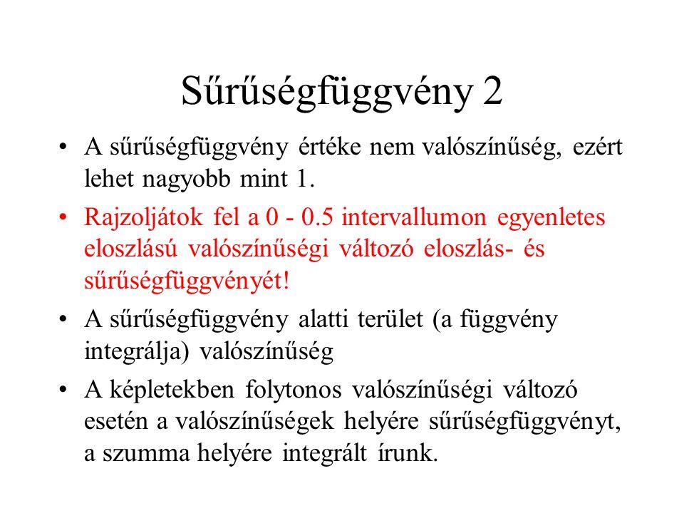 Sűrűségfüggvény 2 A sűrűségfüggvény értéke nem valószínűség, ezért lehet nagyobb mint 1.