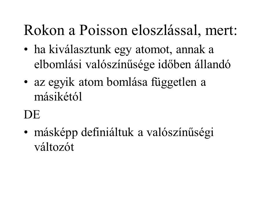 Rokon a Poisson eloszlással, mert: