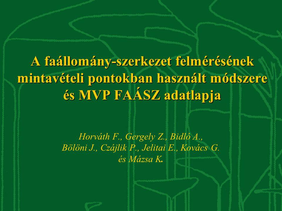 A faállomány-szerkezet felmérésének mintavételi pontokban használt módszere és MVP FAÁSZ adatlapja