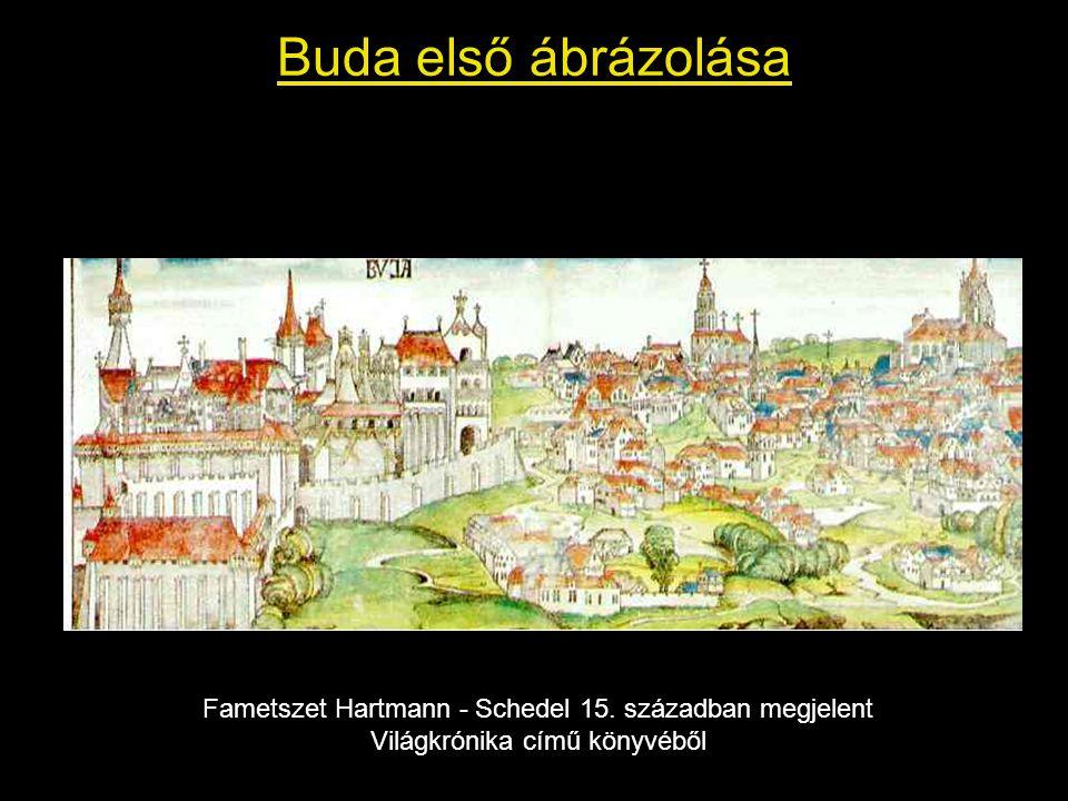 Buda első ábrázolása Fametszet Hartmann - Schedel 15.