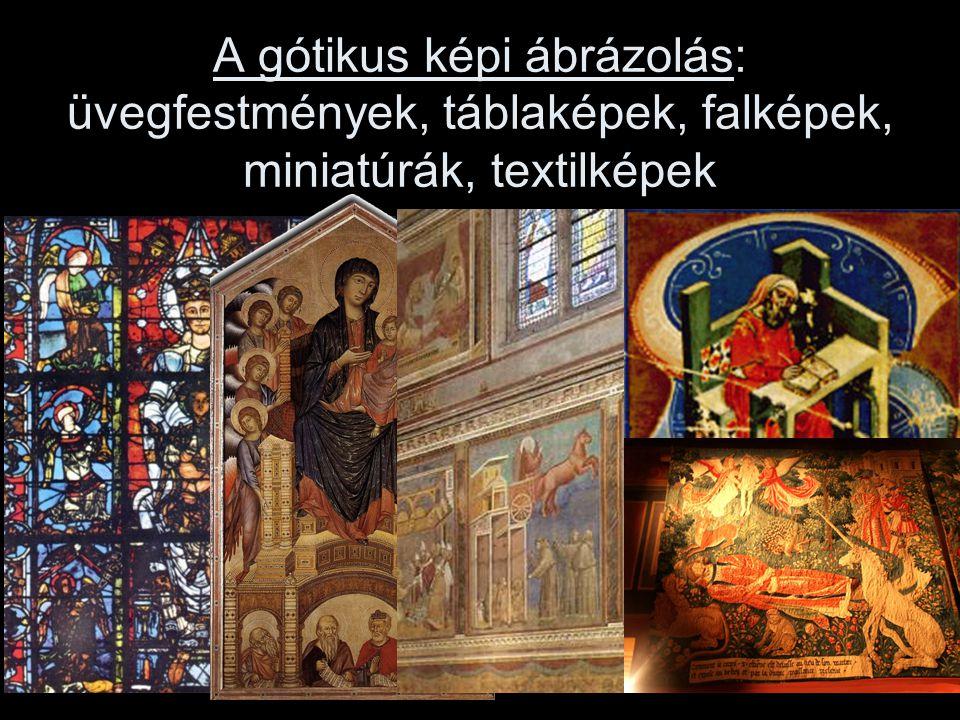 A gótikus képi ábrázolás: üvegfestmények, táblaképek, falképek, miniatúrák, textilképek