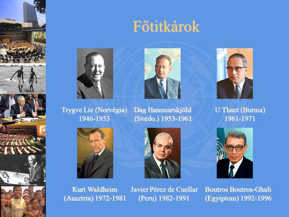 Főtitkárok Trygve Lie (Norvégia) 1946-1953