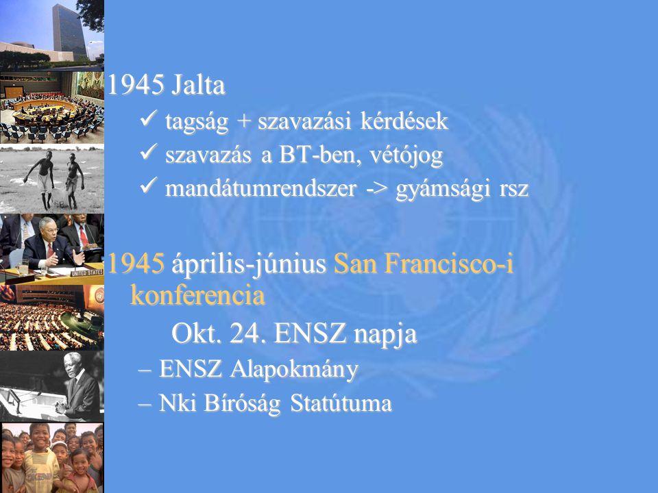 1945 április-június San Francisco-i konferencia Okt. 24. ENSZ napja