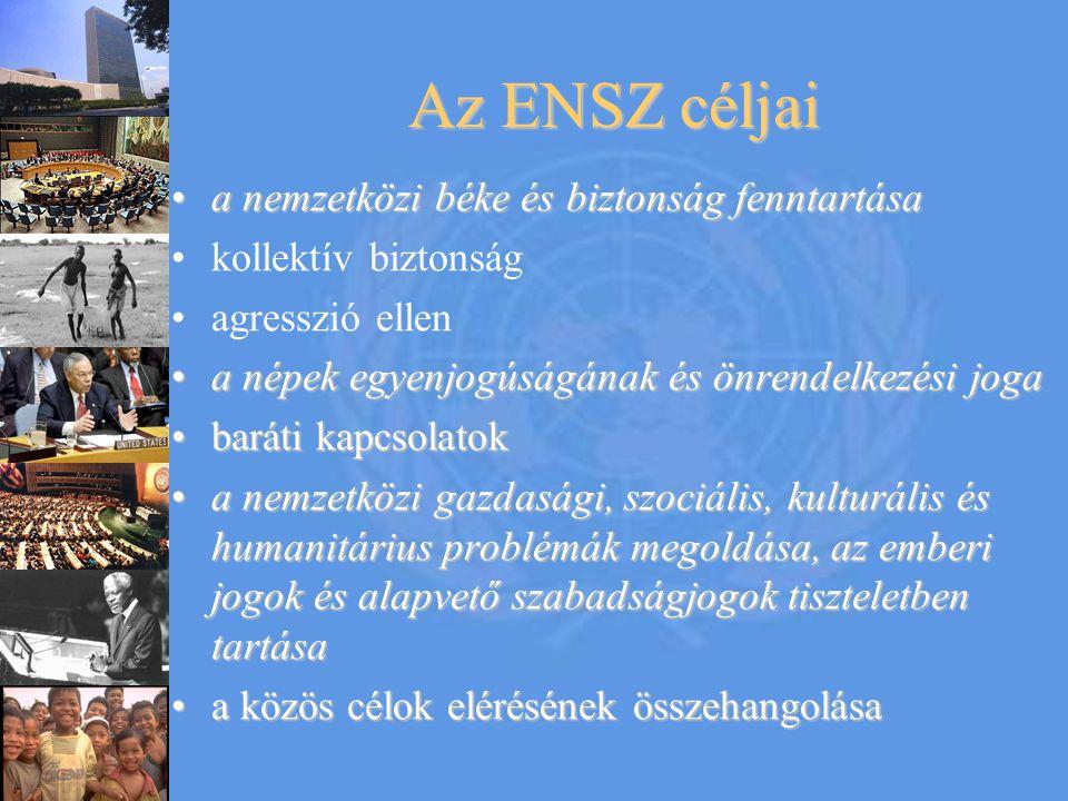 Az ENSZ céljai a nemzetközi béke és biztonság fenntartása