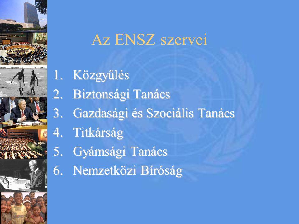 Az ENSZ szervei Közgyűlés Biztonsági Tanács