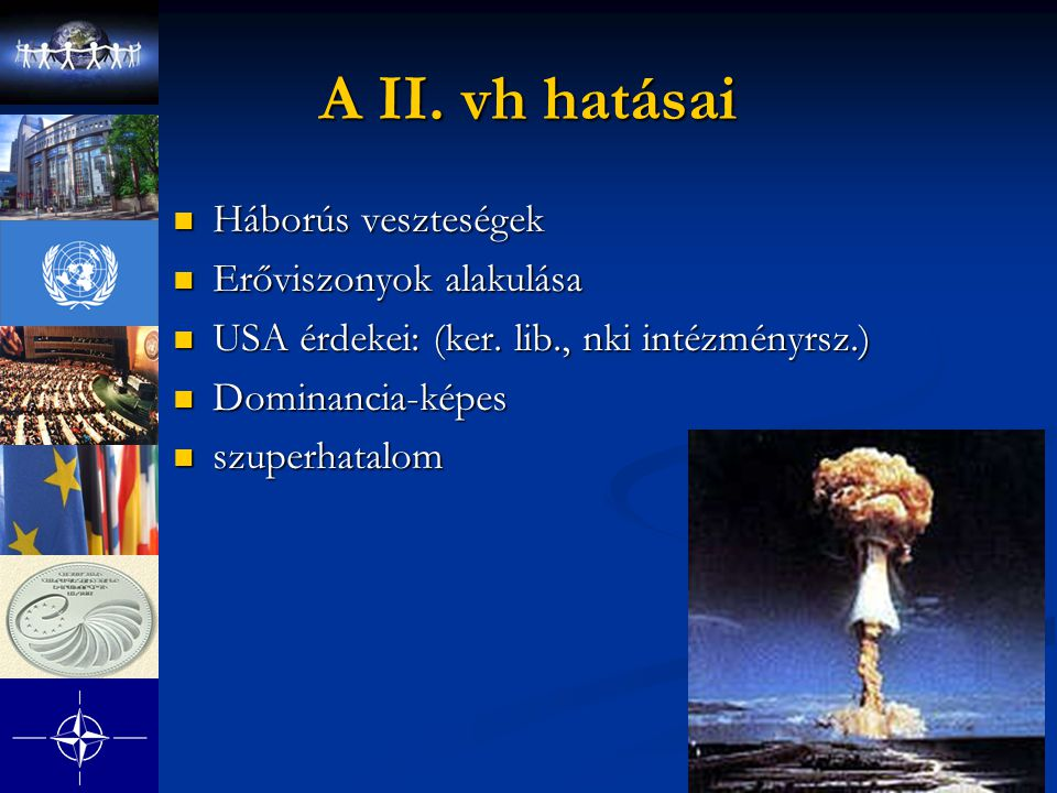 A II. vh hatásai Háborús veszteségek Erőviszonyok alakulása