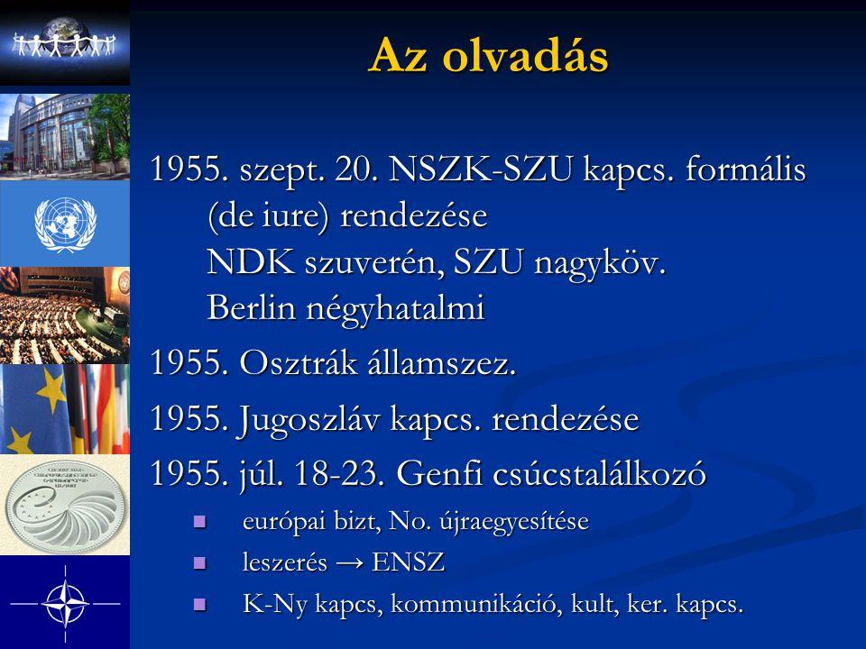 Az olvadás 1955. szept. 20. NSZK-SZU kapcs. formális (de iure) rendezése NDK szuverén, SZU nagyköv. Berlin négyhatalmi.