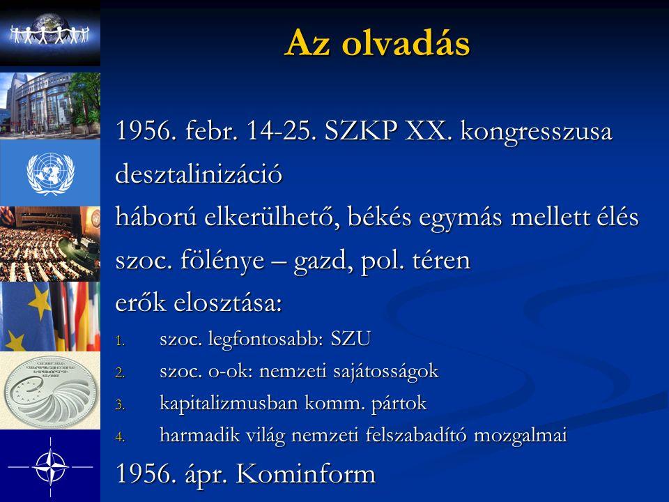 Az olvadás 1956. febr. 14-25. SZKP XX. kongresszusa desztalinizáció