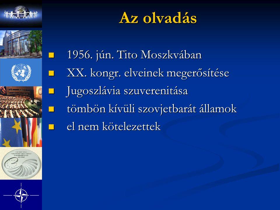 Az olvadás 1956. jún. Tito Moszkvában XX. kongr. elveinek megerősítése