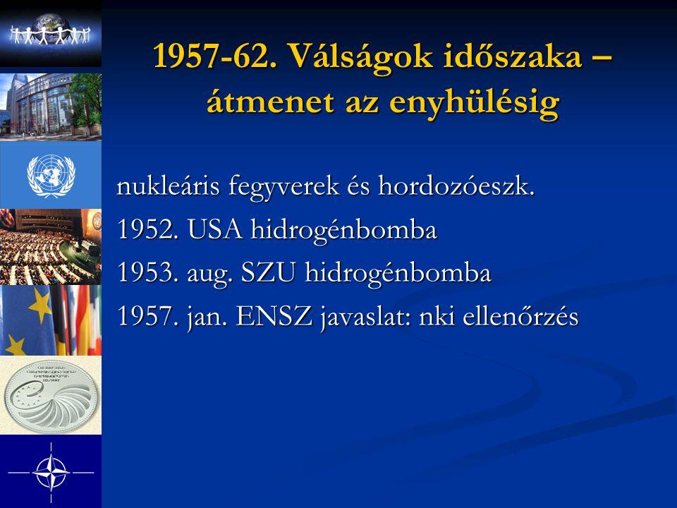 1957-62. Válságok időszaka – átmenet az enyhülésig