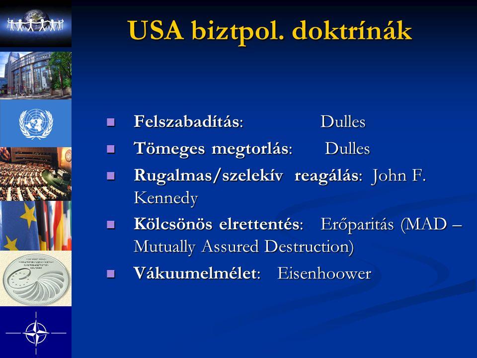 USA biztpol. doktrínák Felszabadítás: Dulles Tömeges megtorlás: Dulles