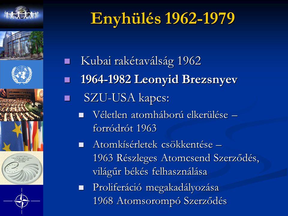 Enyhülés 1962-1979 Kubai rakétaválság 1962 1964-1982 Leonyid Brezsnyev