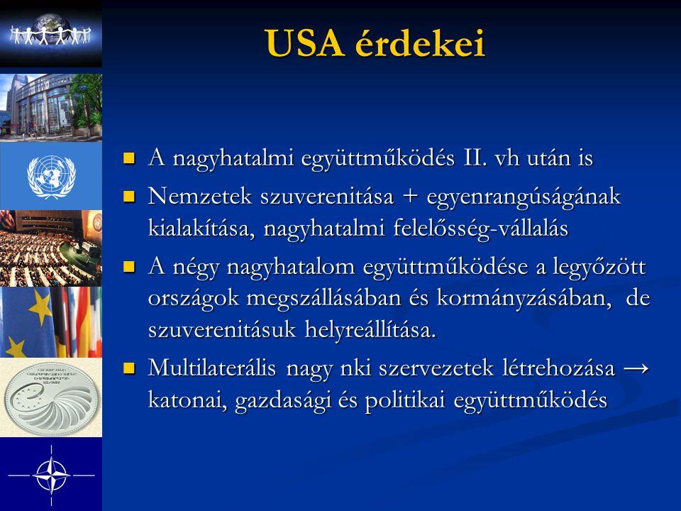 USA érdekei A nagyhatalmi együttműködés II. vh után is