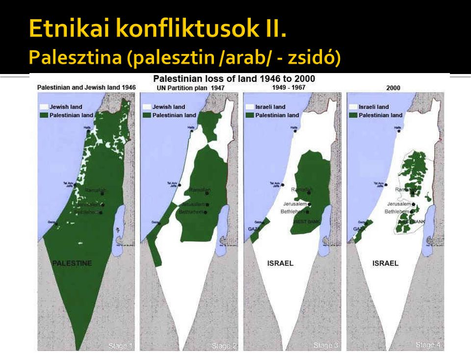 Etnikai konfliktusok II. Palesztina (palesztin /arab/ - zsidó)