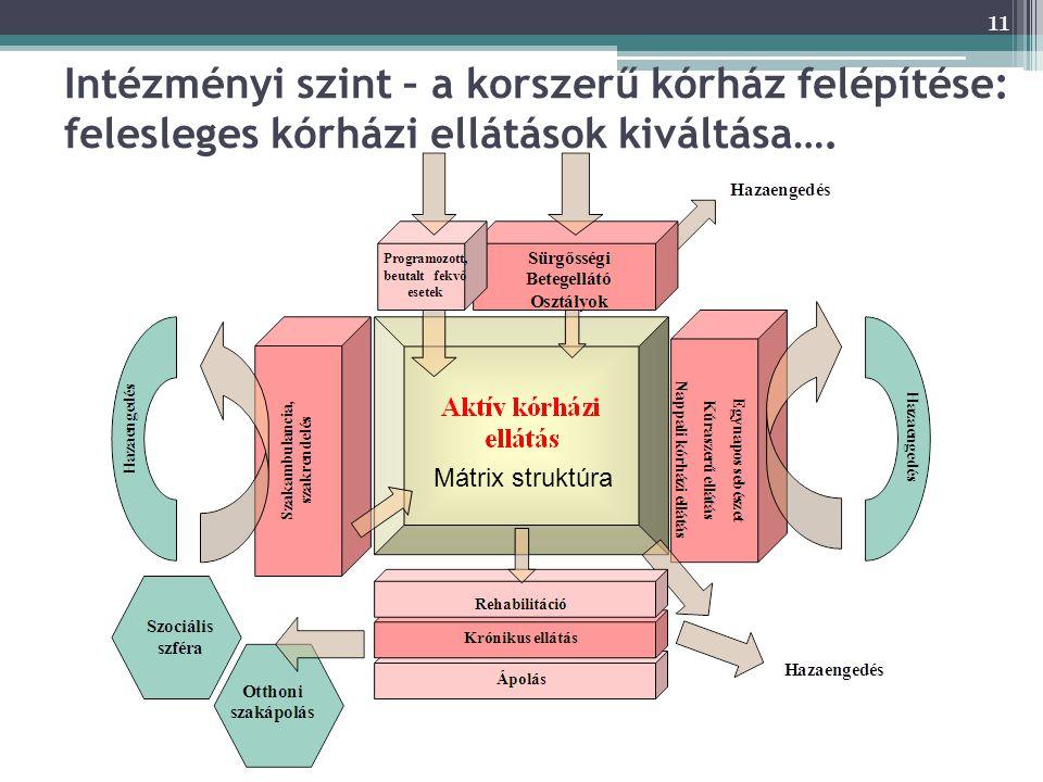 Intézményi szint – a korszerű kórház felépítése: felesleges kórházi ellátások kiváltása….