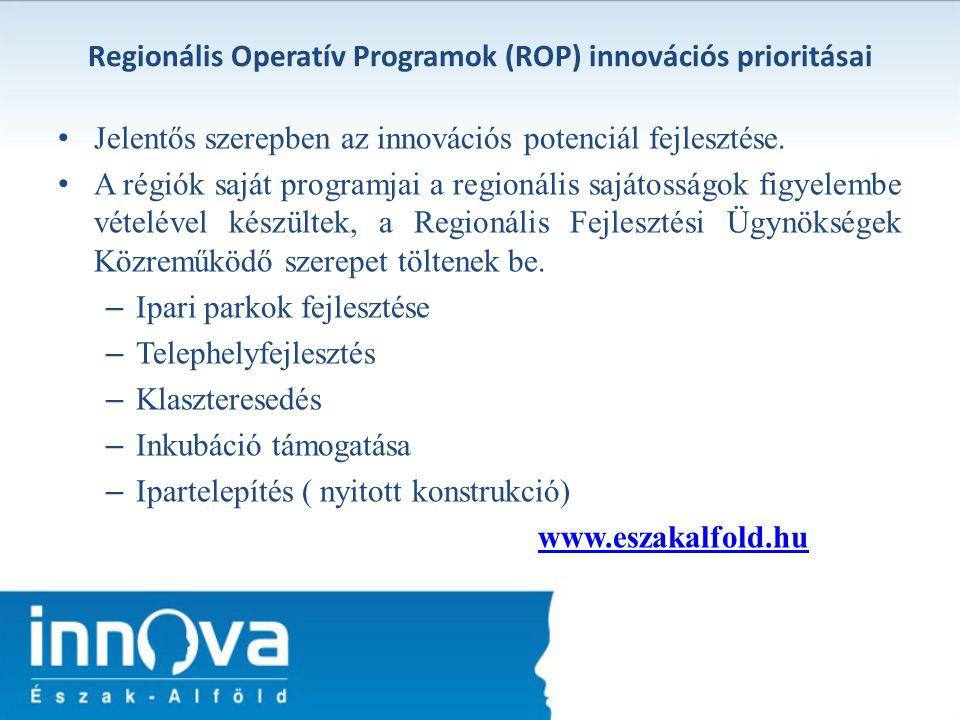 Regionális Operatív Programok (ROP) innovációs prioritásai