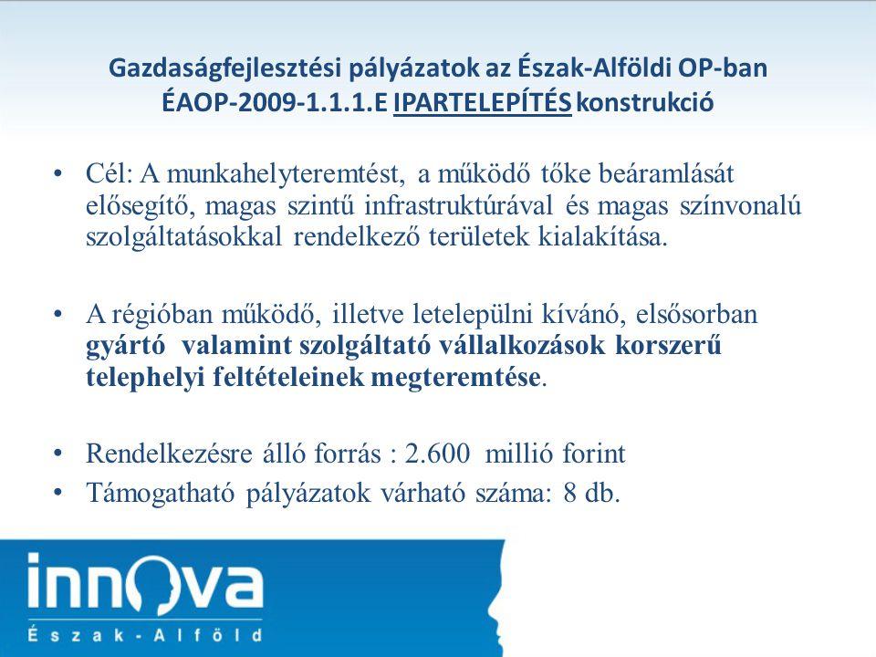 Gazdaságfejlesztési pályázatok az Észak-Alföldi OP-ban ÉAOP-2009-1. 1