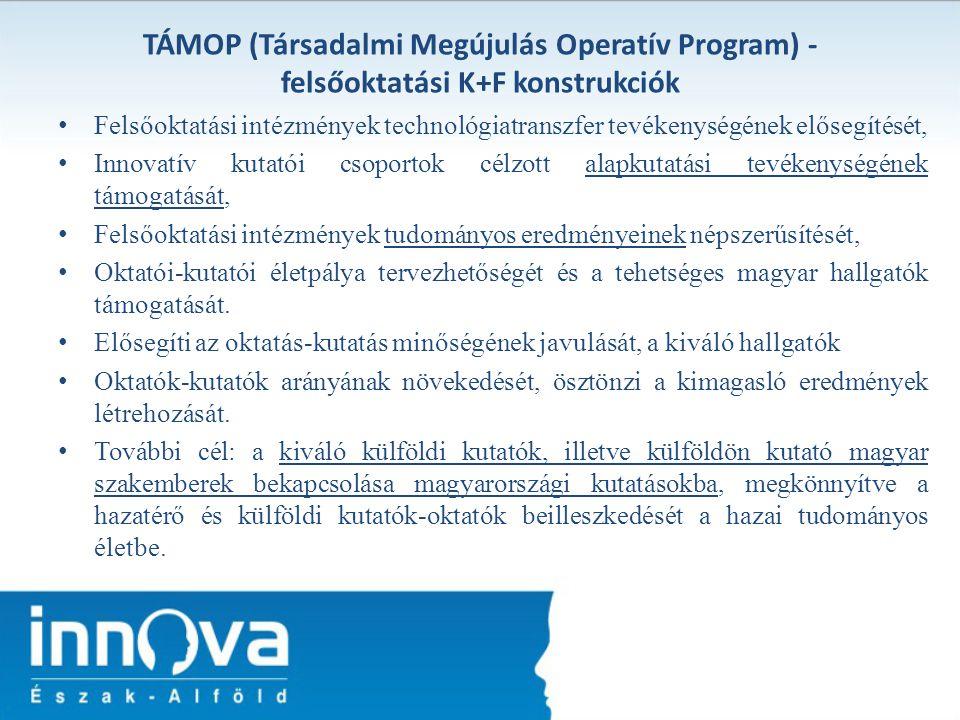 TÁMOP (Társadalmi Megújulás Operatív Program) - felsőoktatási K+F konstrukciók