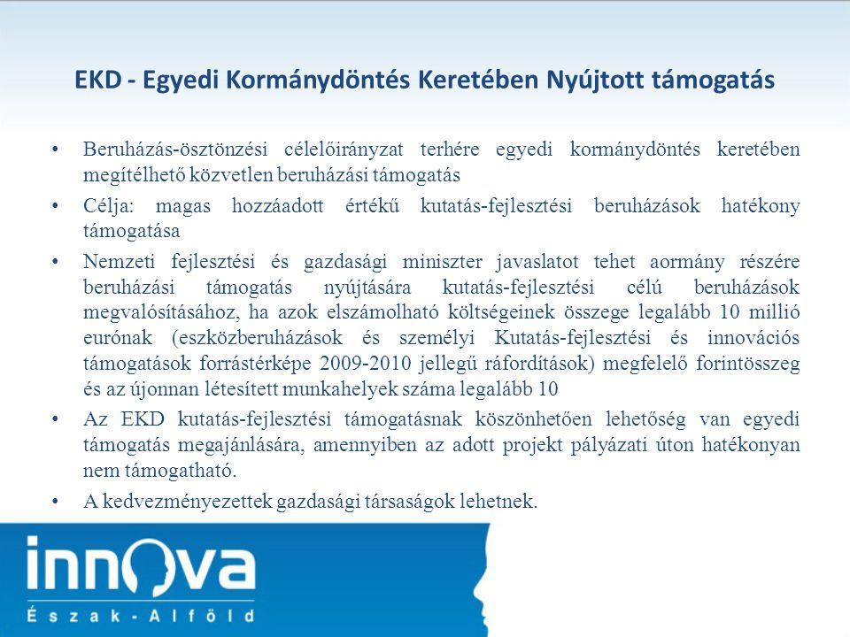 EKD - Egyedi Kormánydöntés Keretében Nyújtott támogatás