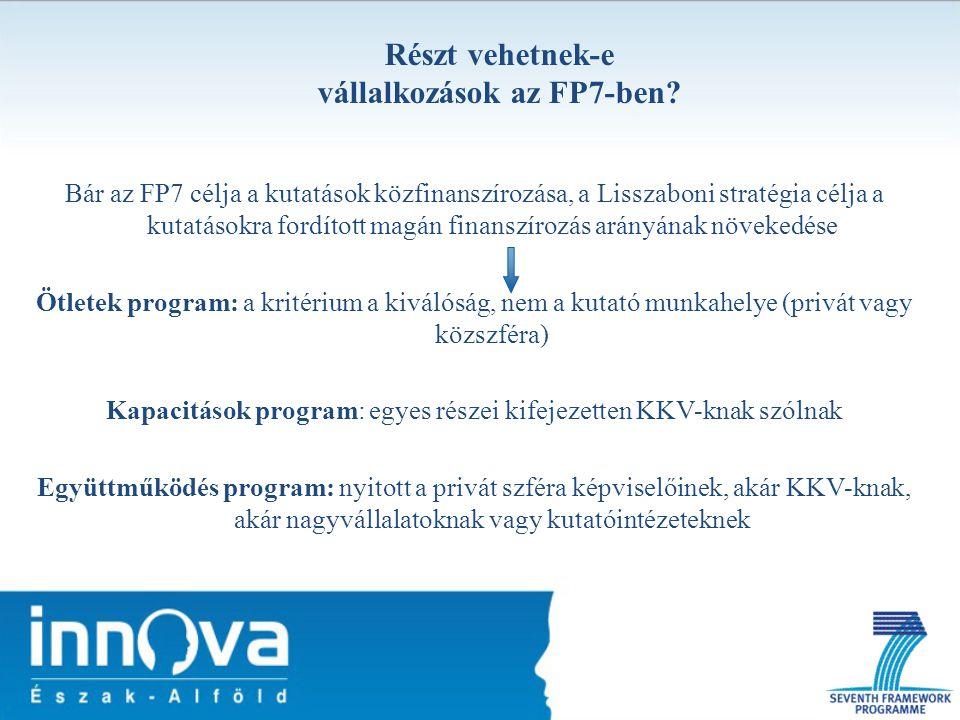 Részt vehetnek-e vállalkozások az FP7-ben