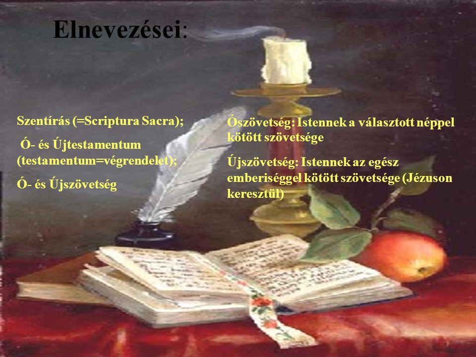 Elnevezései: Szentírás (=Scriptura Sacra);